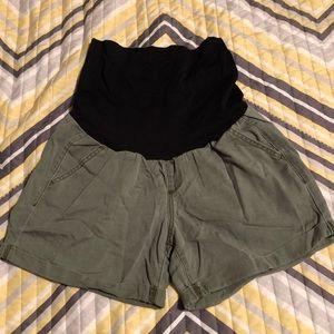 Khaki green maternity shorts